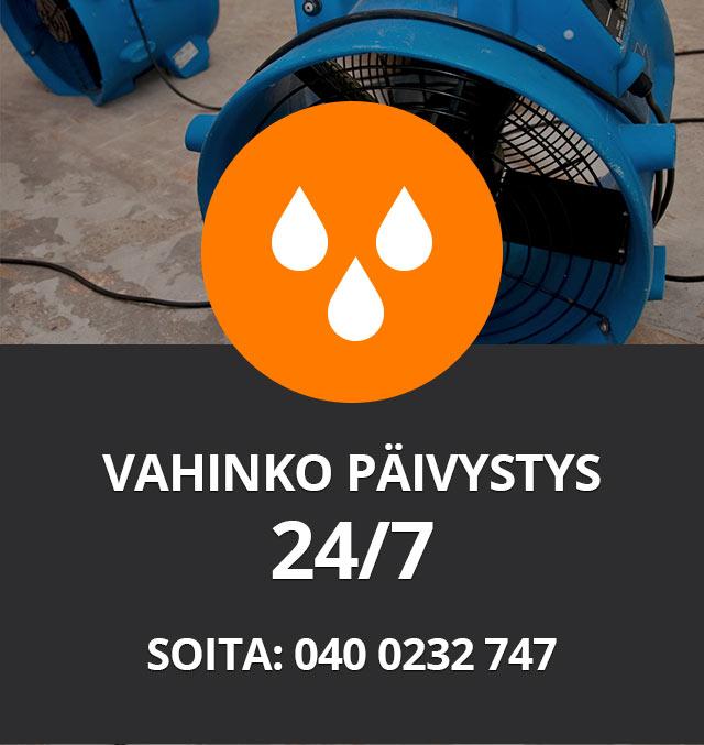 Vahinkopäivystys 24 /7 Soita: 040 0232747